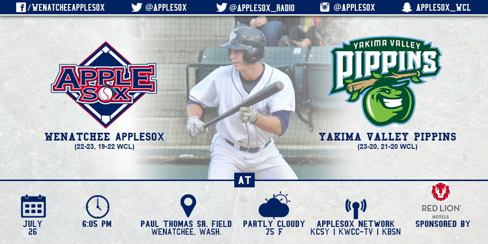 The AppleSox and Pippins square off Sunday night, as Wenatchee goes for the sweep at 6:05 p.m., from Paul Thomas Sr. Field on Spaghetti Sunday.