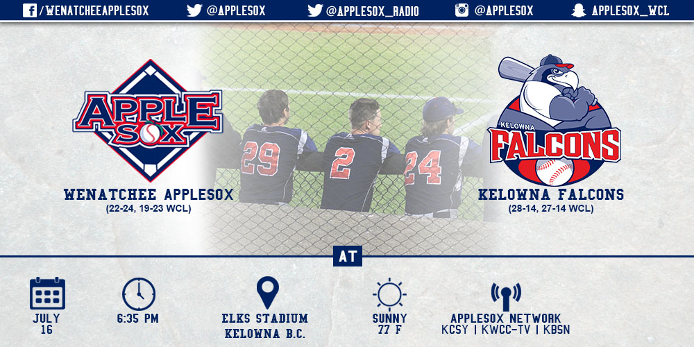 The AppleSox face the Kelowna Falcons Tuesday-Thursday in an important WCL set.