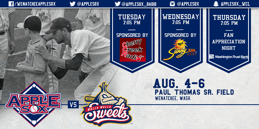 A fun-filled week lies ahead, as the AppleSox complete their 2015 home schedule with three great nights, sponsored by Cherry Creek Radio, Sunny FM, and Washington Trust Bank.