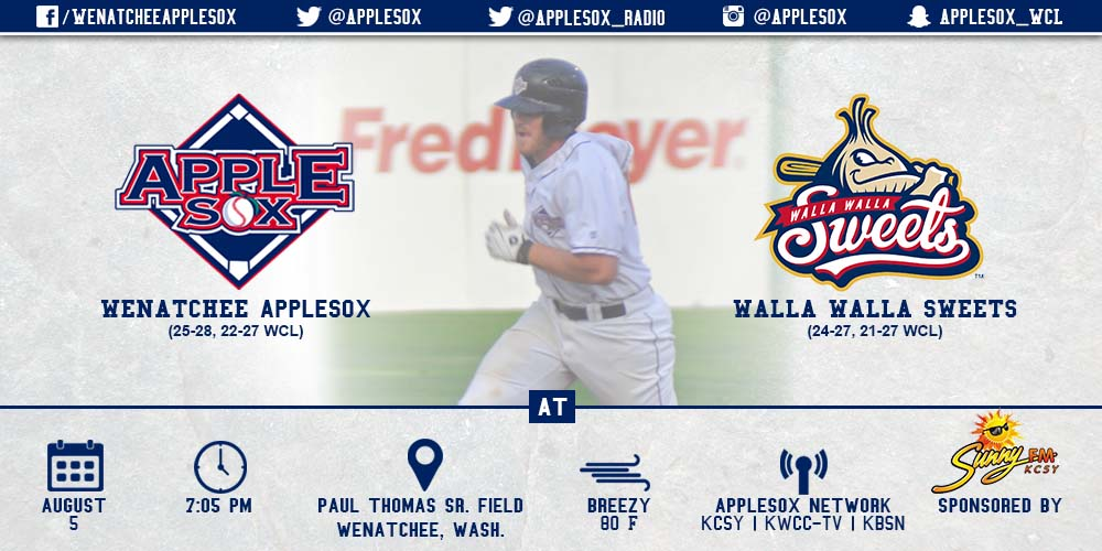 The AppleSox and the Walla Walla Sweets take to the diamond Wednesday night for Foster Family night, in the Sox second-to-last home game of the season.