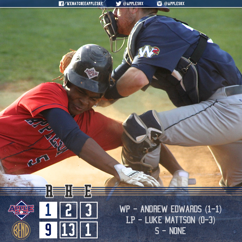 The AppleSox lost 9-1, but won a third-straight WCL series, Thursday.