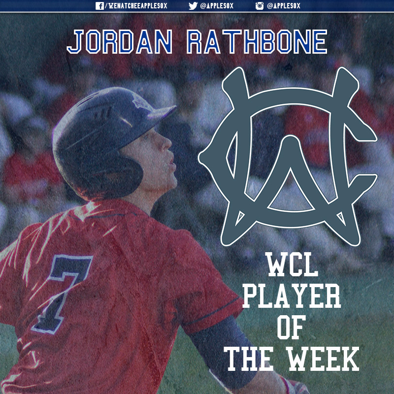 Jordan Rathbone was named WCL Player of the Week for June 20-26 League President Donnie Marbut announced, Tuesday. It is the AppleSox first weekly honor of the season.