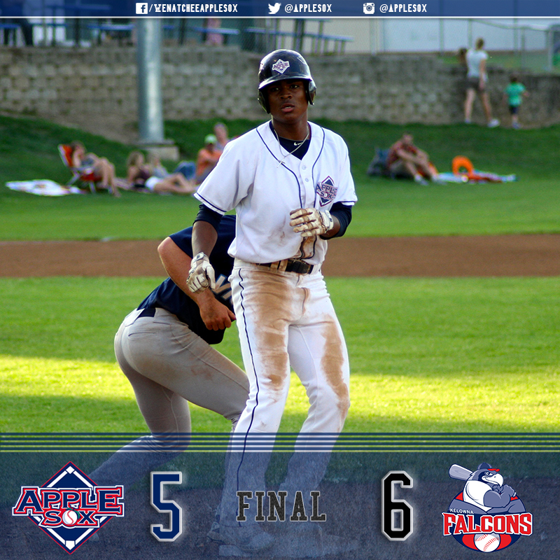 Wenatchee scored Monday night's final five runs, but fell to the Kelowna Falcons 6-5 at Paul Thomas Sr. Stadium.