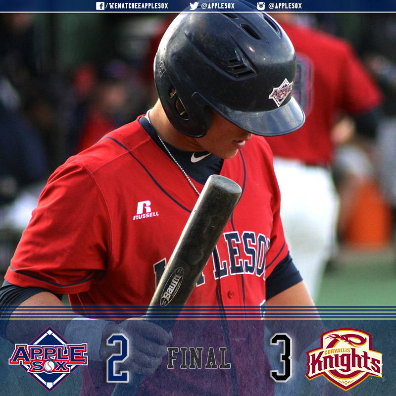 The AppleSox fell 3-2 in their series-opener and WCL second-half opener at Corvallis, Wednesday.