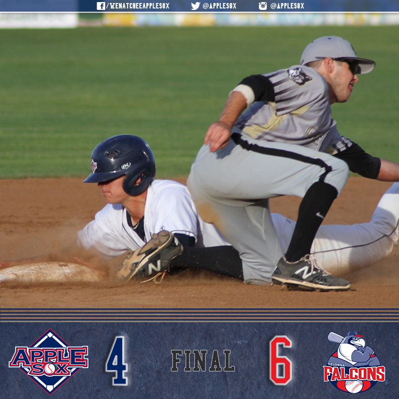 The AppleSox fell 6-4, Tuesday night despite great performances from Michael Toglia and Evan Douglas.