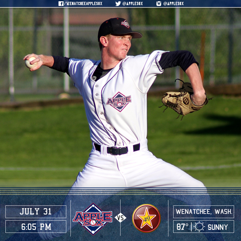Luke Mattson and the AppleSox are looking to sweep the Alaska Goldpanners, Sunday.