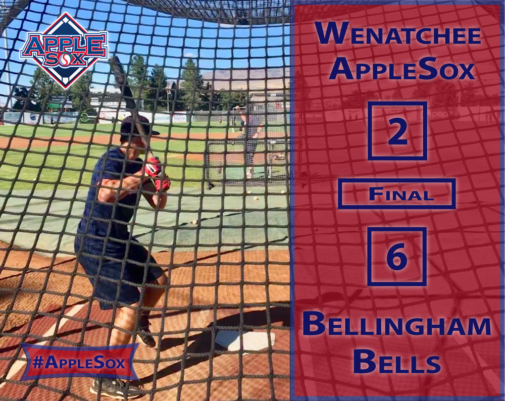 WENATCHEE, Wash. –  The Wenatchee AppleSox dropped the second game of their three-game set with the Bellingham Bells on Wednesday night at Paul Thomas Sr. Stadium.  Bellingham evened up the series of six games in six days between the opponents after the AppleSox won the first game on Tuesday night, 6-2.  For the second straight game, Bellingham struck first. The Bells used a walk, a balk, a wild pitch and a sacrifice fly to plate their first run of the game in the top of the second. They added another in the third to take a two-run lead and would hold a multi-run lead for the rest of the game  Matt Jones hit a three-run shot in the fifth inning to pad the Bells lead and make it 5-0, Bellingham, but the AppleSox responded in the bottom of the inning.  Evan Williams hit a two-run double to right-center field to get the Sox on the board. Dawson Day reached on an infield single and A.D. Pena walked with two outs before Williams plated both a batter later.  The Bells added another run in the top of the seventh for their final run of the game.  Pena was a bright spot for the AppleSpx offense, going 1-for-2 with a double and two walks. He scored one of the AppleSox two runs.  The series in Wenatchee concludes tomorrow night when the Sox host the Bells at 7:05 p.m. Michael Spellacy goes against Nick Nastrini of Bellingham in the series finale.