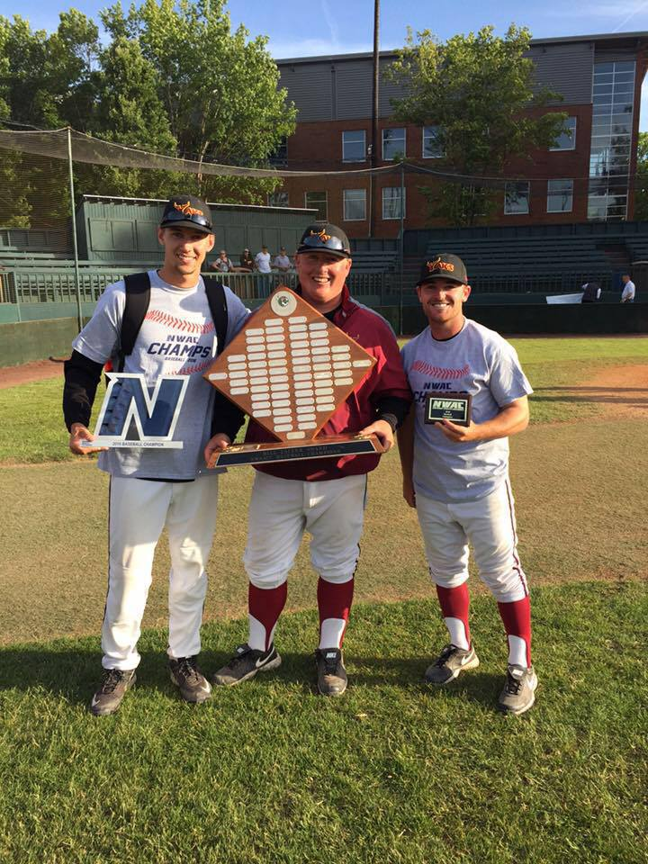 (left-to-right) VonDracek, Krustangel and Ulrich won the NWAC Championship as coaches in 2016.