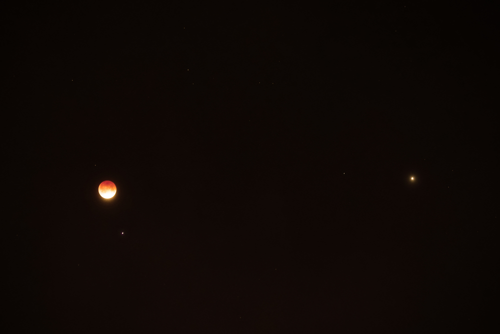 The Moon, Spica and Mars