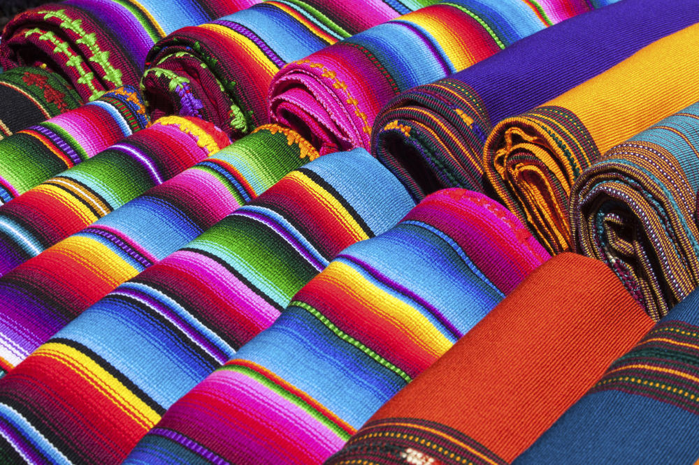 Textiles on display at Chichicastenango market