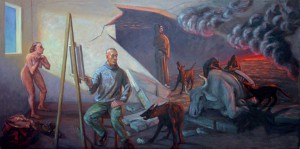 "The Dogs of War, oil on canvas, 38""x79"", March 2003"