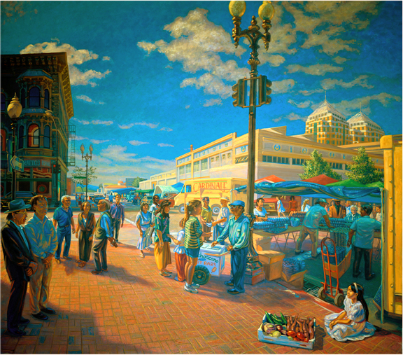 Market on 9th St - July, 10.5ft  X 11.5ft, oil canvas, 1997, Oakland