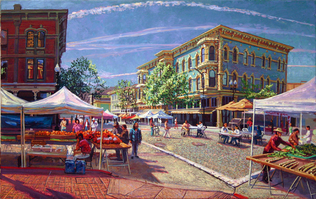 "'Old Oakland Market - April', oil on canvas,  24"" X 35"", 2009"