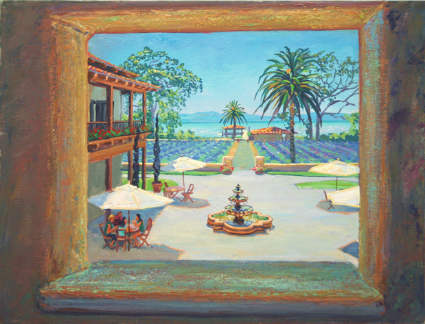 "View of the Courtyard, Ceago, oil/canvas, 18"" X 24"""