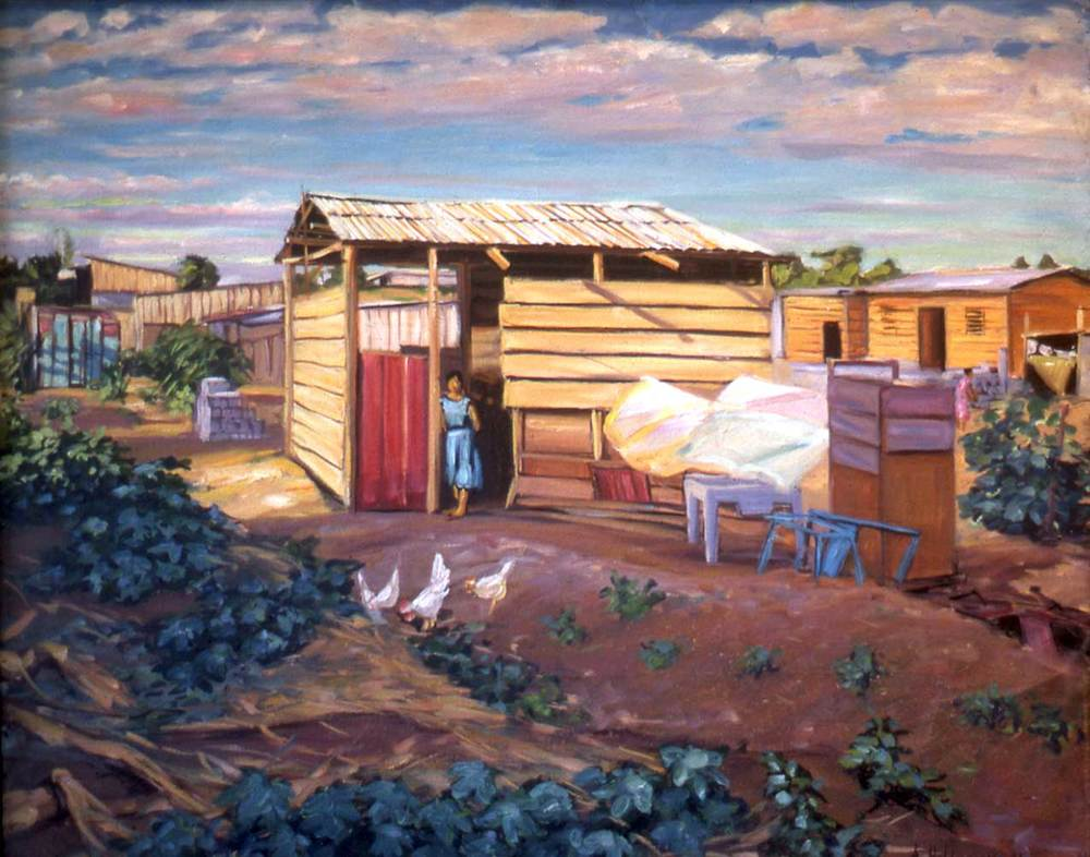 "War Refugee Housing, Managua, oil on canvas, 18"" X 24"", 1985"