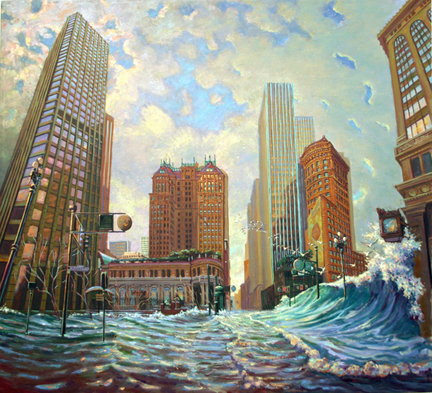 San Francisco Global Warming Triptych # 2, oil on canvas, 2008