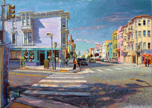 "Capp and 24th Streets, oil/board, 20"" X 28"", 2014"