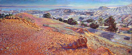 "Bernal Panorama, oil/board, 20"" X 48"", 2010"
