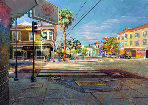 "Indian Summer in the Mission, ( Harrison and 24th ), oil on board, 20"" X 28"", 2014"