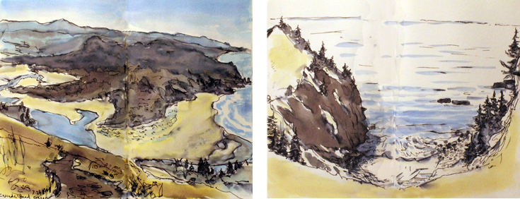 Views from Cascade Head, Oregon,  pen and ink from my sketchbook