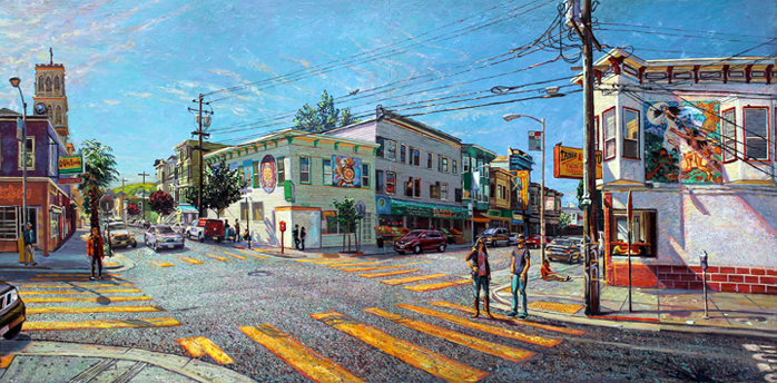 """Heart of the Mission # 2, 24"""" X 48"""", oil on hardwood panel, Anthony Holdsworth, 2016"""