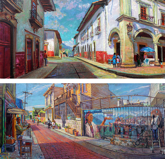 "Above: Detail from ""Un Rincon de La Plaza Grande, Patzcuaro, Michoacan Below: Detail from ""On the Red Road, Balmy Alley, Mission District, San Francisco"