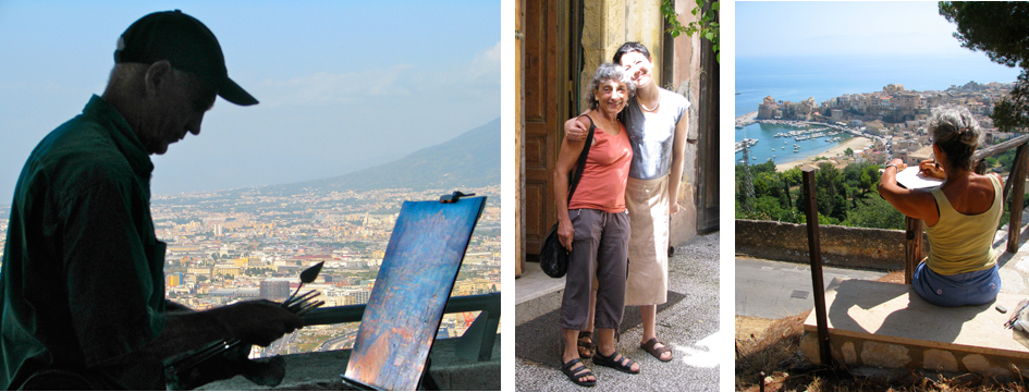Anthony painting above Naples.                                                                      Leaving Catania.                    Beryl above Castellammare