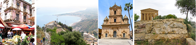 Some of the places we will visit: The fish and produce market in Catania, A chapel above Taormina, A church in Vittoria, Agrigento