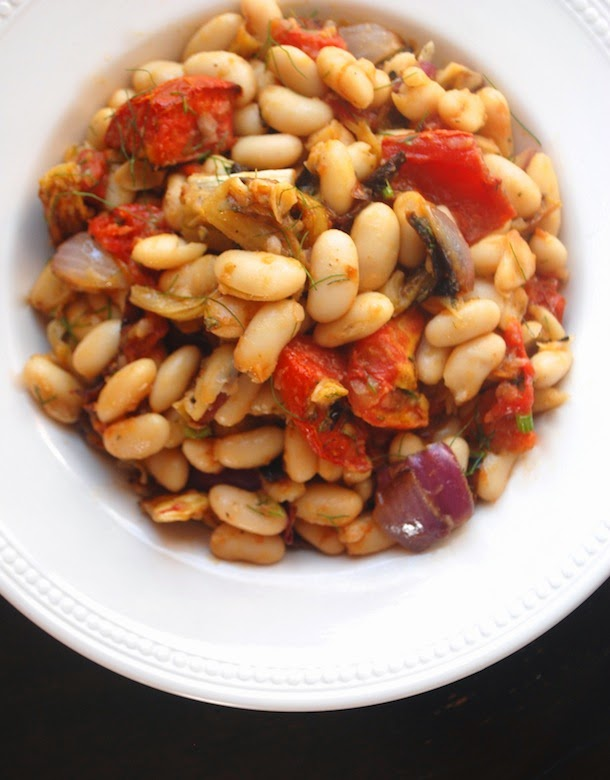 Warm Cannellini Bean Salad with Roasted Vegetables