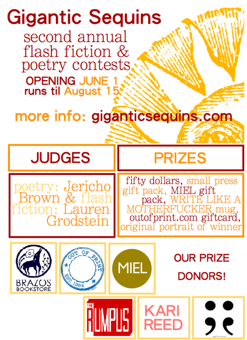Really excited about the Gigantic Sequins flash fiction contest ongoing now! (via  Contests | Gigantic Sequins )