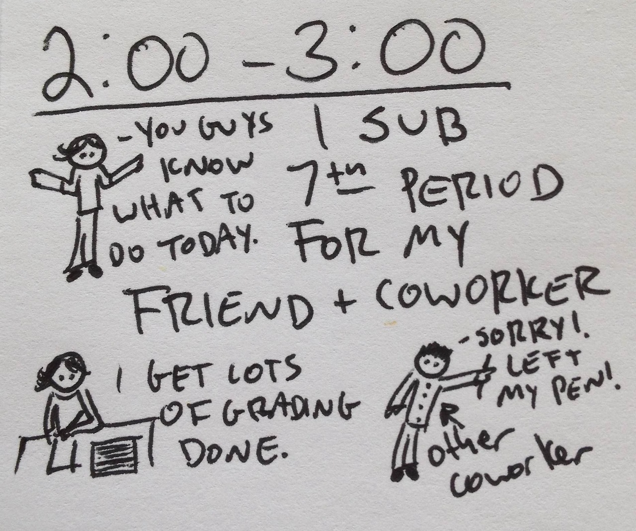 Hourly comics from yesterday part 8. I skipped the time between 1:30 and 2:00 because nothing really happened. Classes go from being on the half hour to being on the hour after noon.