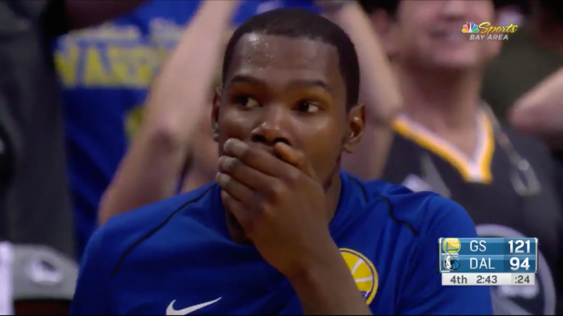 Jordan Bell's dunk was so amazing, Kevin Durant was speechless!