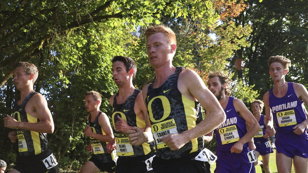 Tanner Anderson leads the Men of Oregon (image via GoDucks)