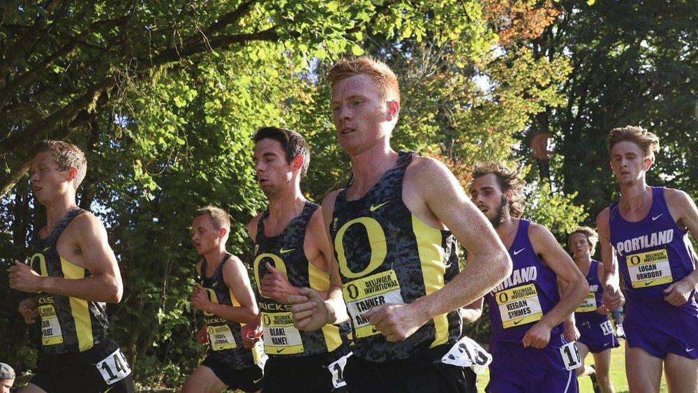 Tanner Anderson leads the Men of Oregon (image via GoDucks)