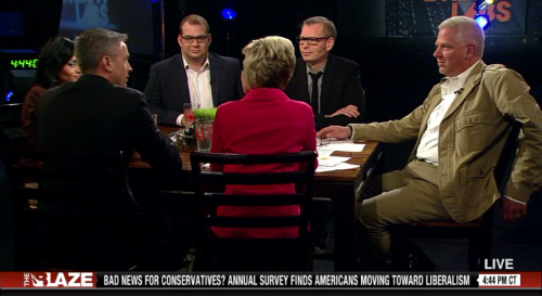 Left to Right: Katrina Pierson, Jason Hoyt, Adam Brandon, Becky Gerritson,   Matt Kibbe and Glenn Beck on The Blaze TV.