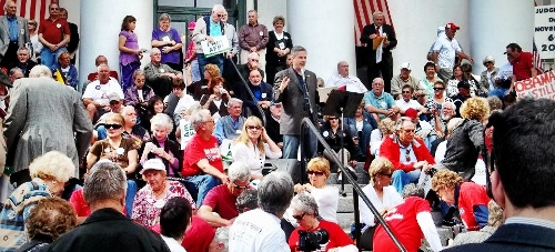Emceeing a rally on the steps of the Old Capitol Building in Tallahassee, FL.