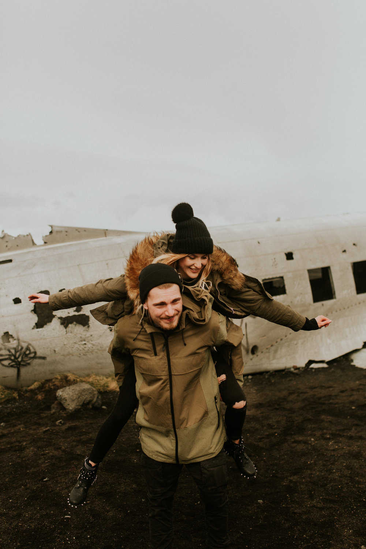 iceland   Sólheimasandur    plane crash engagement session by BreeAnna Lasher