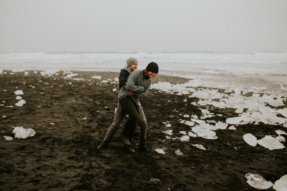 black diomond beach in iceland vanlife engagement session photographer breeanna lasher