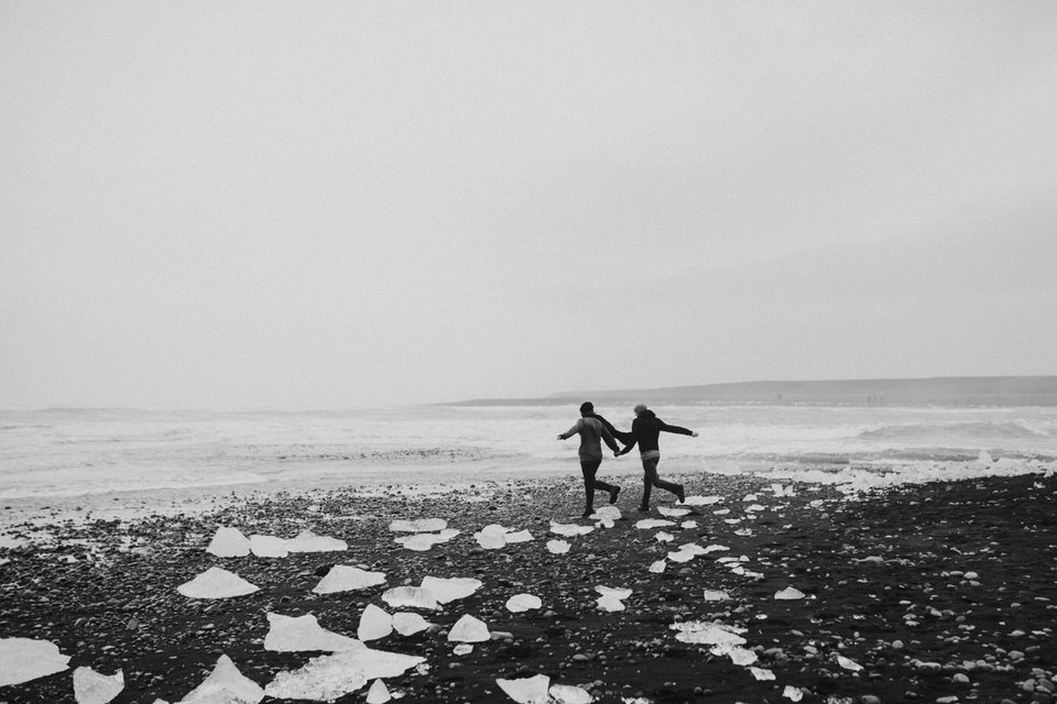 black diamond beach in iceland vanlife engagement session photographer