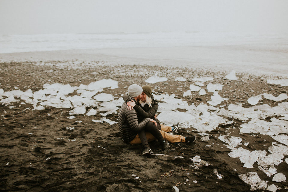diamond beach in iceland vanlife engagement session photographer breeanna lasher