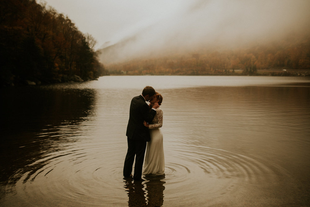 elopement by the lake in New Hampshire