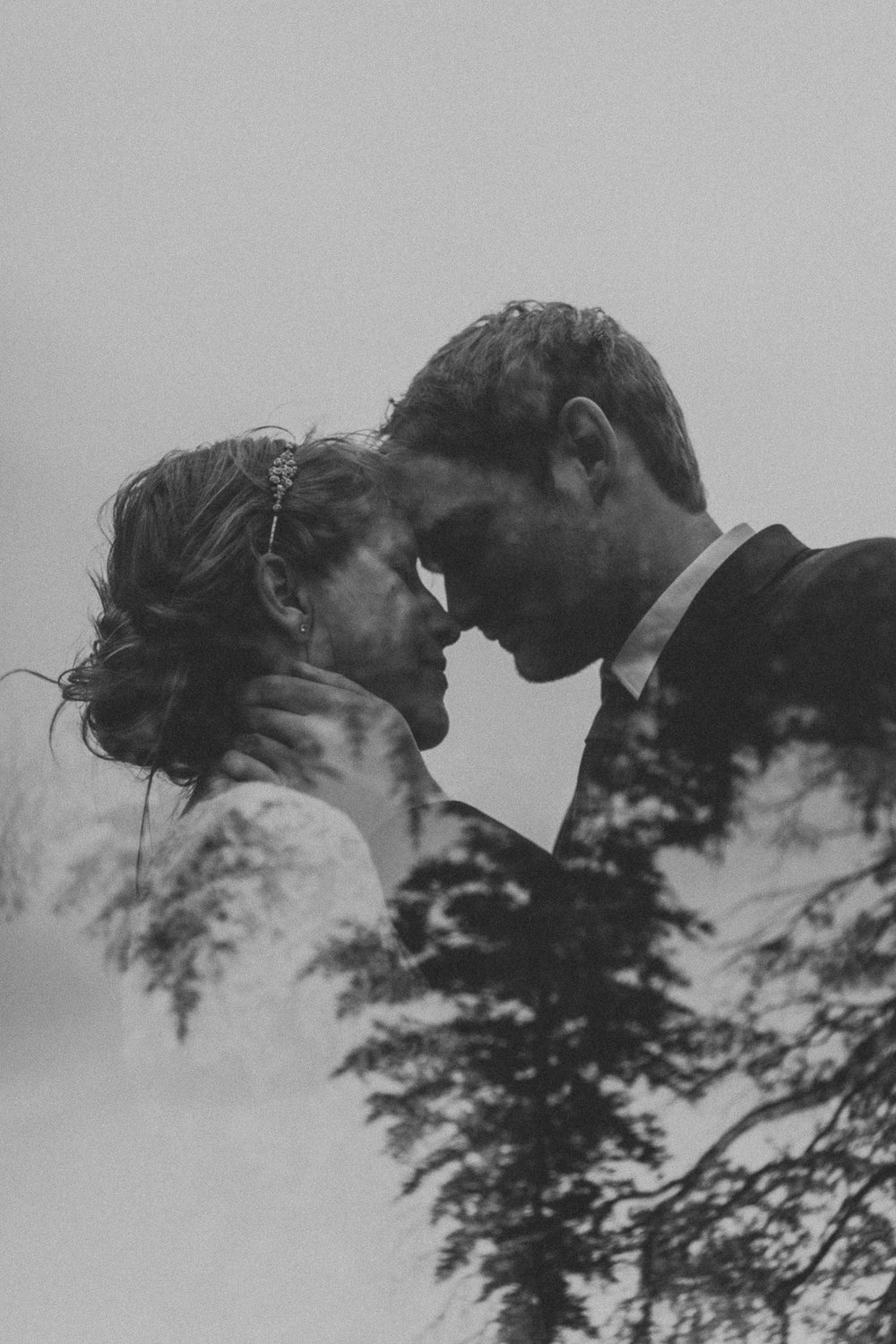 black and white double exposure new england wedding photographer