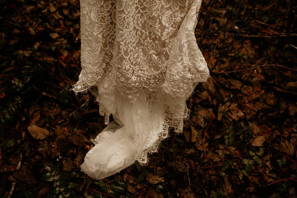 Mount Rainier Elopement Dress in woods