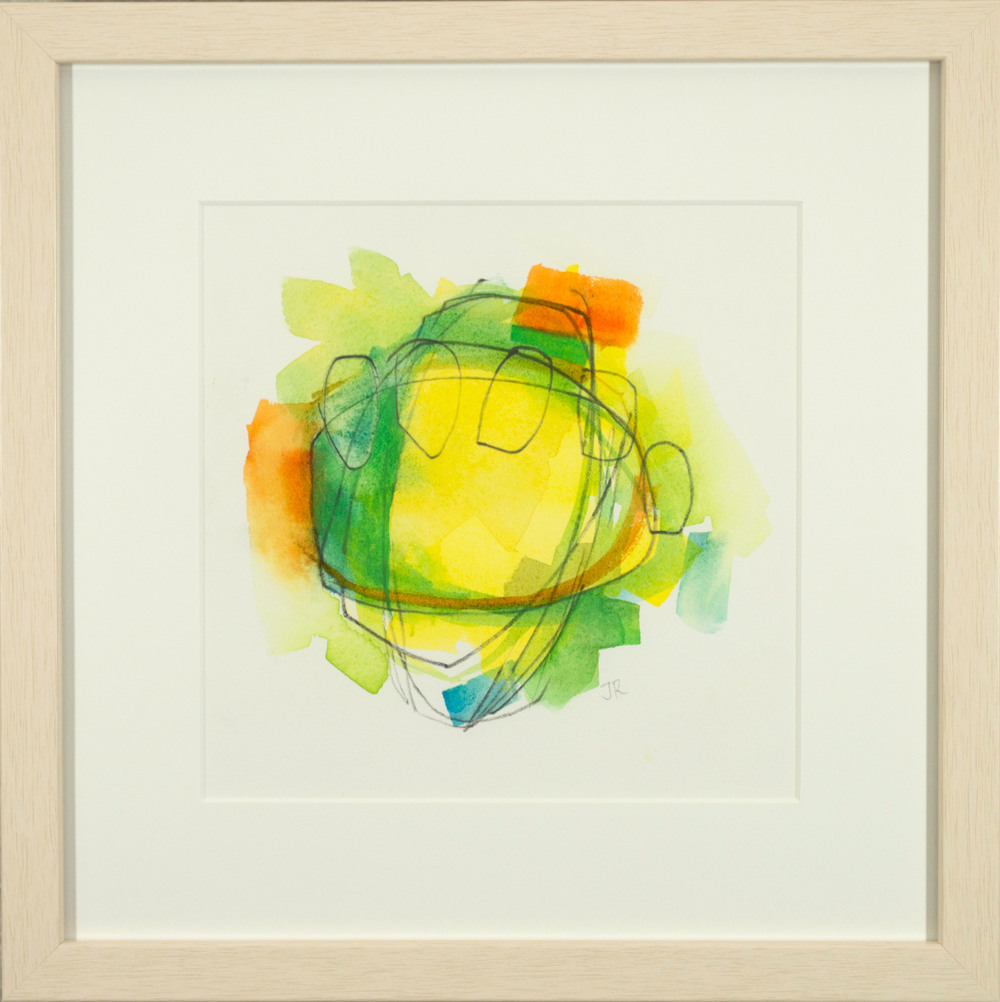 "Covalent, mixed media on paper, 12"" x 12"" framed."