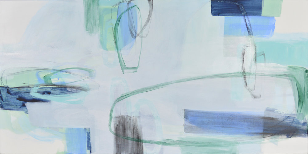 """Surfacing,"" mixed media on canvas, 18"" x 36"". On view at Room & Board through April 24th."