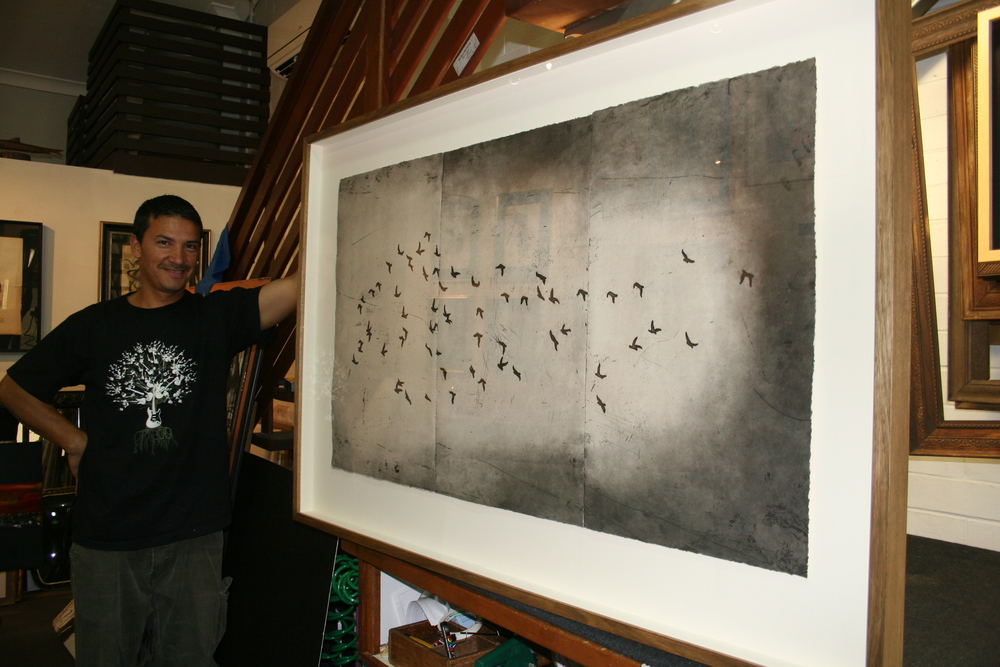 Etching tryptich raised float mounted in custom hand finished Oak frame Museum grade custom framing.JPG