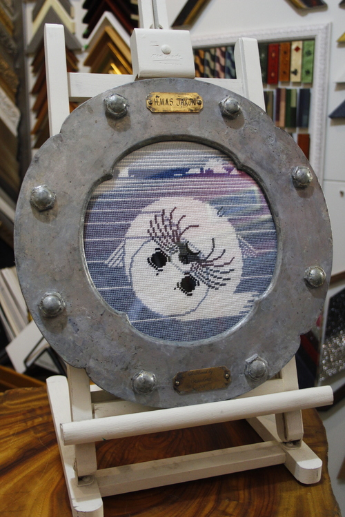 Unique custom designed porthole frame for needlework