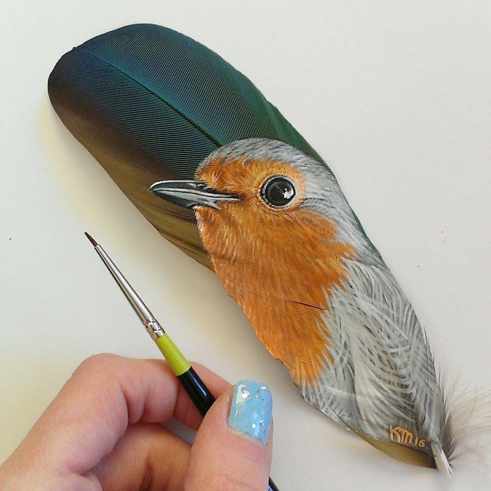 European Robin on a blue and gold macaw feather