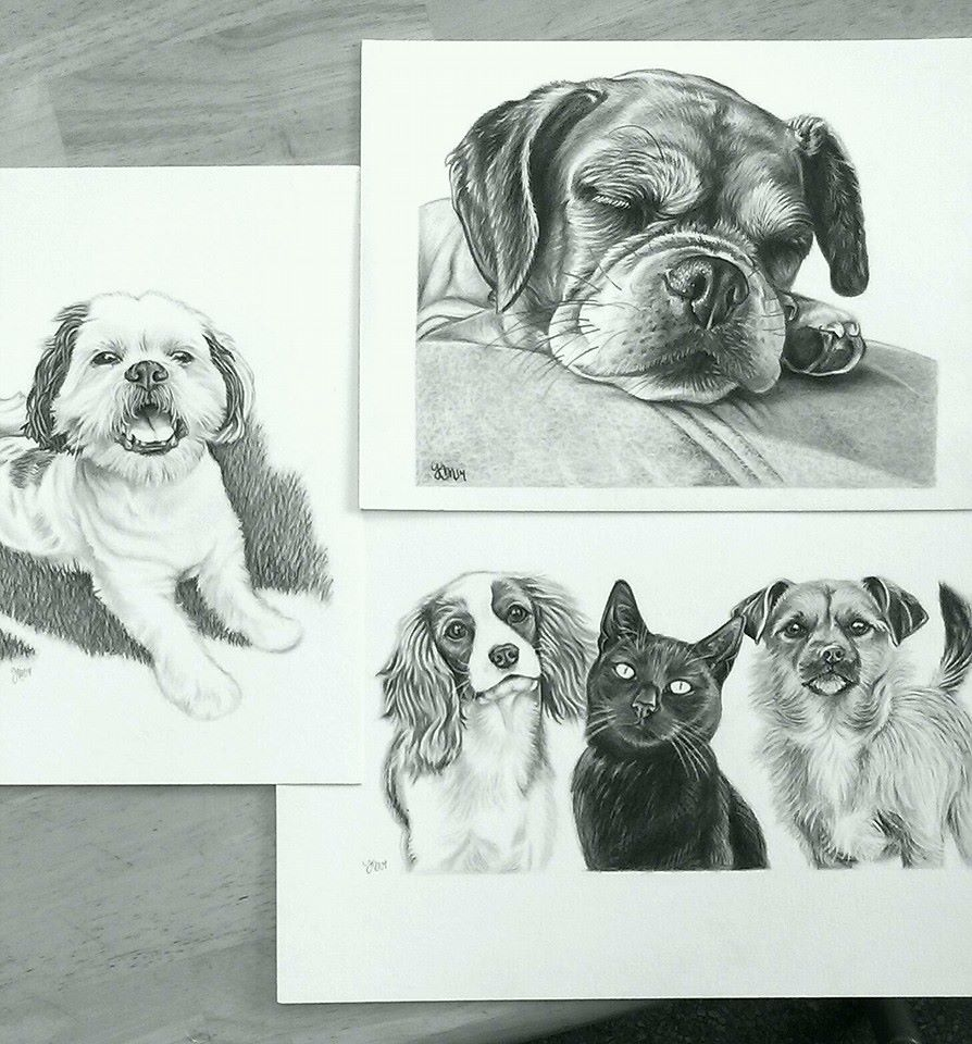 Snow, Sophie the Puggle, and Lila the King Charles Cavalier Spaniel, Lilly, and Painter the Puggle/Yorkie mix