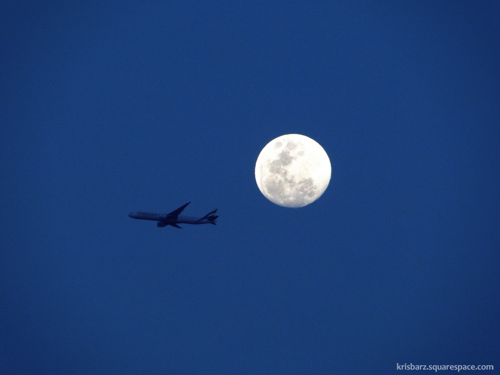 The plane and the moon